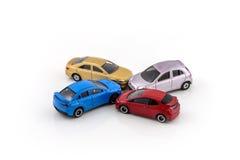 Modello dell'automobile del giocattolo, incidente stradale Immagini Stock