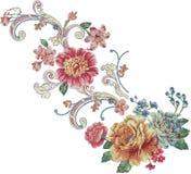 modello dell'illustrazione del fiore nel fondo semplice Immagini Stock