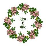 Modello dell'illustrazione di vettore voi e me per le strutture frondose verdi del fiore del vario materiale illustrativo royalty illustrazione gratis