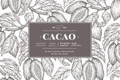 Modello dell'insegna dell'albero della fava di cacao Fondo delle fave di cacao del cioccolato Illustrazione disegnata a mano di v fotografie stock