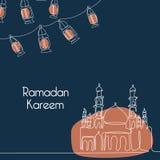 Modello dell'insegna del kareem del Ramadan con disegno a tratteggio continuo della lanterna e della moschea royalty illustrazione gratis