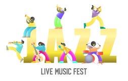 Modello dell'insegna del manifesto di vettore del fest di musica in diretta illustrazione vettoriale