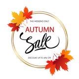 Modello dell'insegna di Autumn Sale con le foglie di autunno luminose Fotografia Stock