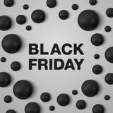 Modello dell'insegna di Black Friday Lettere nere di Black Friday e perle nere intorno su fondo bianco Illustrazione Vettoriale