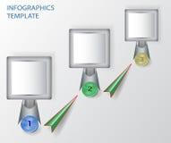Modello dell'insegna di Infographics con i bottoni e il arro Fotografia Stock Libera da Diritti