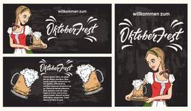 Modello dell'insegna di Oktoberfest con la cameriera di bar in costume tradizionale Illustrazione Vettoriale