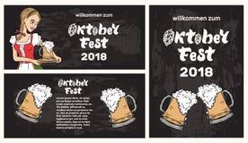 Modello dell'insegna di Oktoberfest con la cameriera di bar in costume tradizionale royalty illustrazione gratis