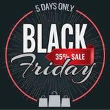 Modello dell'insegna di progettazione dell'iscrizione di vendita di Black Friday Illustrazione di vettore Immagine Stock Libera da Diritti