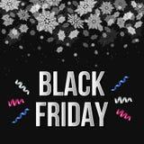 Modello dell'insegna di vendita di Black Friday con neve Illustrazione Vettoriale