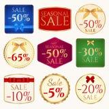 Modello dell'insegna di vendita (buono o etichetta) con l'arco (costola Fotografia Stock