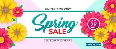 Modello dell'insegna di vendita della primavera con il bello fiore variopinto su fondo rosa, per la vendita di compera Progettazi immagini stock libere da diritti