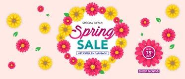 Modello dell'insegna di vendita della primavera con il bello fiore variopinto su fondo rosa, per la vendita di compera Progettazi fotografia stock libera da diritti