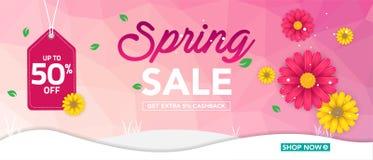 Modello dell'insegna di vendita della primavera con il bello fiore variopinto su fondo rosa, per la vendita di compera Progettazi fotografia stock