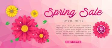 Modello dell'insegna di vendita della primavera con il bello fiore variopinto su fondo rosa, per la vendita di compera Progettazi immagini stock