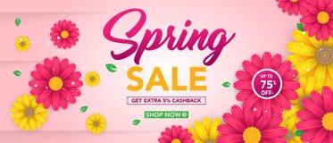 Modello dell'insegna di vendita della primavera con il bello fiore variopinto su fondo rosa, per la vendita di compera Progettazi immagine stock libera da diritti