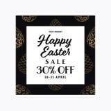 Modello dell'insegna di vendita di Pasqua con le uova modellate dorate illustrazione di stock