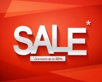 Modello dell'insegna di vendita Sconto fino ad un massimo di 50 Vendita dell'iscrizione su un fondo astratto rosso Immagine Stock