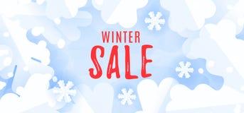 Modello dell'insegna di vendita di stagione invernale con i fiocchi di neve e neve su fondo blu illustrazione di stock