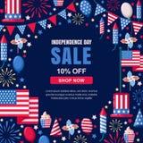 Modello dell'insegna di vettore di vendita di festa dell'indipendenza di U.S.A. Fondo della struttura della marina di festa 4 del Fotografie Stock Libere da Diritti