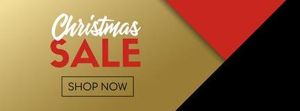 Modello dell'insegna di vettore di vendita di Natale Il nero ed oro fotografia stock