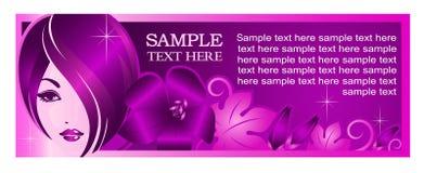 Modello dell'insegna per il salone di bellezza o gli altri servizi o pubblicità Immagine Stock