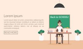 Modello dell'insegna per il sito Web Di nuovo al banco Stile piano Fotografie Stock Libere da Diritti