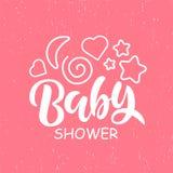 Modello dell'invito della doccia di bambino con l'iscrizione della mano royalty illustrazione gratis