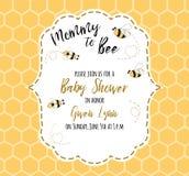 Modello dell'invito della doccia di bambino con la mamma del testo all'ape, miele Progettazione di carta sveglia per i ragazzi de Fotografie Stock