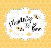 Modello dell'invito della doccia di bambino con la mamma del testo all'ape, miele Progettazione di carta sveglia per il giorno di Fotografia Stock Libera da Diritti