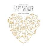 Modello dell'invito della doccia di bambino Illustrazione d'annata disegnata a mano Fotografie Stock Libere da Diritti