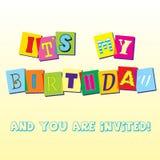 Modello dell'invito di compleanno Fotografie Stock