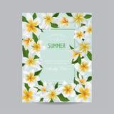 Modello dell'invito di nozze con i fiori di plumeria Risparmi floreali tropicali la carta di data Progettazione romantica del fio Fotografia Stock Libera da Diritti