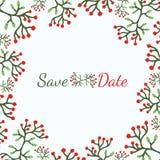 Modello dell'invito di nozze di vettore con gli elementi floreali: fiori, foglie, bacche e rami e risparmi del testo scritto dell Fotografia Stock