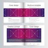 Modello dell'opuscolo del quadrato del popolare della Bi con il fondo della molecola del DNA Fotografia Stock