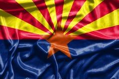 Modello della bandiera dell'Arizona su struttura del tessuto Fotografie Stock