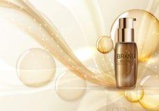 Modello della bottiglia di toner della pelle per gli annunci o il fondo della rivista 3d con riferimento a Fotografie Stock