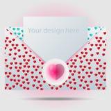 Modello della busta con il bollo del cuore Royalty Illustrazione gratis
