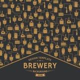 Modello della carta con l'elemento della fabbrica di birra della birra Vettore royalty illustrazione gratis