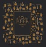 Modello della carta con l'elemento della fabbrica di birra della birra Vettore illustrazione di stock