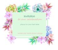 Modello della carta con la progettazione floreale; succulenti, fiori e foglie disegnati a mano in un acquerello; decorazione flor Immagini Stock