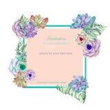 Modello della carta con la progettazione floreale; succulenti, fiori e foglie disegnati a mano in un acquerello; decorazione flor Immagine Stock