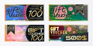 Modello della carta del modello del buono di regalo con il illustr di vettore di valuta Immagine Stock Libera da Diritti