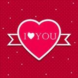 Modello della carta del cuore di amore di Valentine Day Fotografia Stock