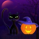 Modello della carta del gatto nero di Halloween Fotografia Stock Libera da Diritti