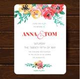 Modello della carta dell'invito di nozze Immagine Stock