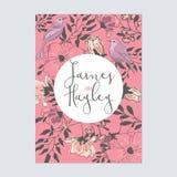 Modello della carta dell'invito di nozze del fiore Fotografia Stock