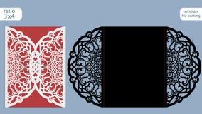 Modello della carta dell'invito di nozze del taglio del laser Tagli la carta di carta con il modello del pizzo Modello della cart Fotografia Stock Libera da Diritti