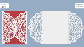 Modello della carta dell'invito di nozze del taglio del laser Tagli la carta di carta con il modello del pizzo Modello della cart Fotografie Stock Libere da Diritti