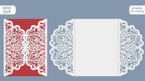 Modello della carta dell'invito di nozze del taglio del laser Tagli la carta di carta con il modello del pizzo Modello della cart Immagine Stock