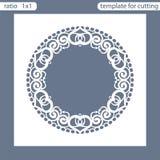 Modello della carta dell'invito di nozze del taglio del laser Tagli la carta di carta con il modello del pizzo Modello della cart Fotografia Stock